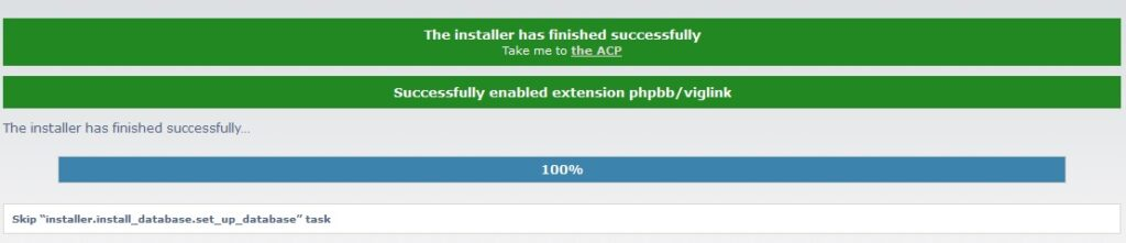 phpBB installation finished